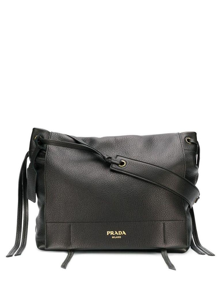 Prada front flap shoulder bag - Black