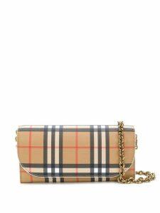 Burberry Heymarket checked pattern bag - Brown