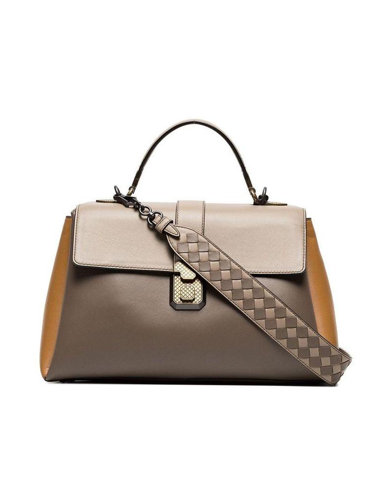 Bottega Veneta taupe Piazza leather shoulder bag - Brown