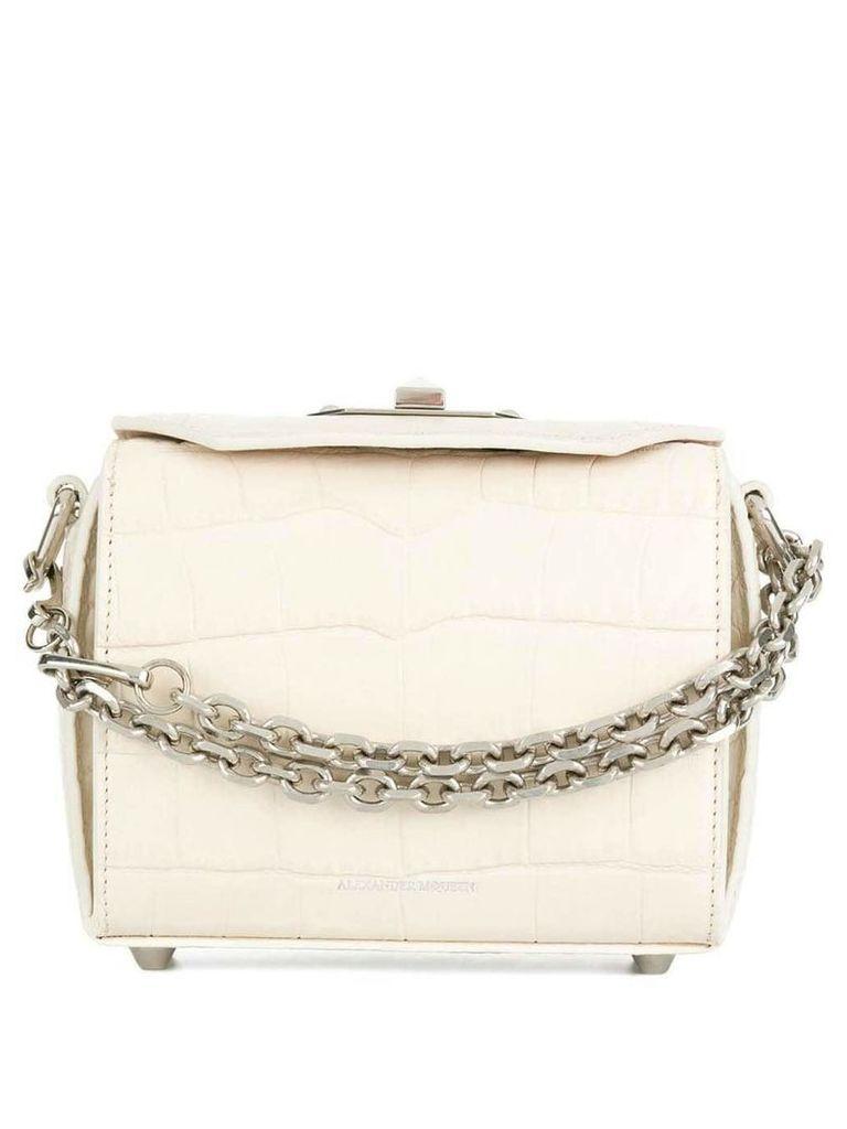 Alexander McQueen Box crocodile embossed bag - White
