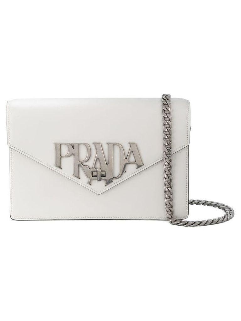 Prada logo plaque shoulder bag - White