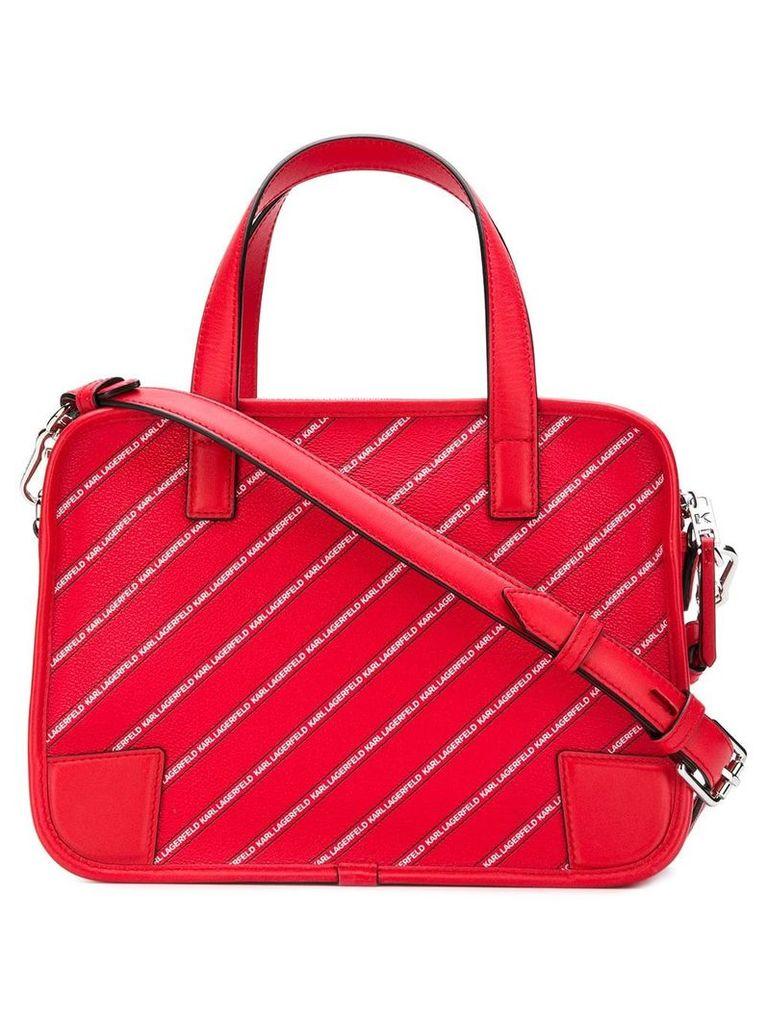 Karl Lagerfeld striped logo bowling bag - Red