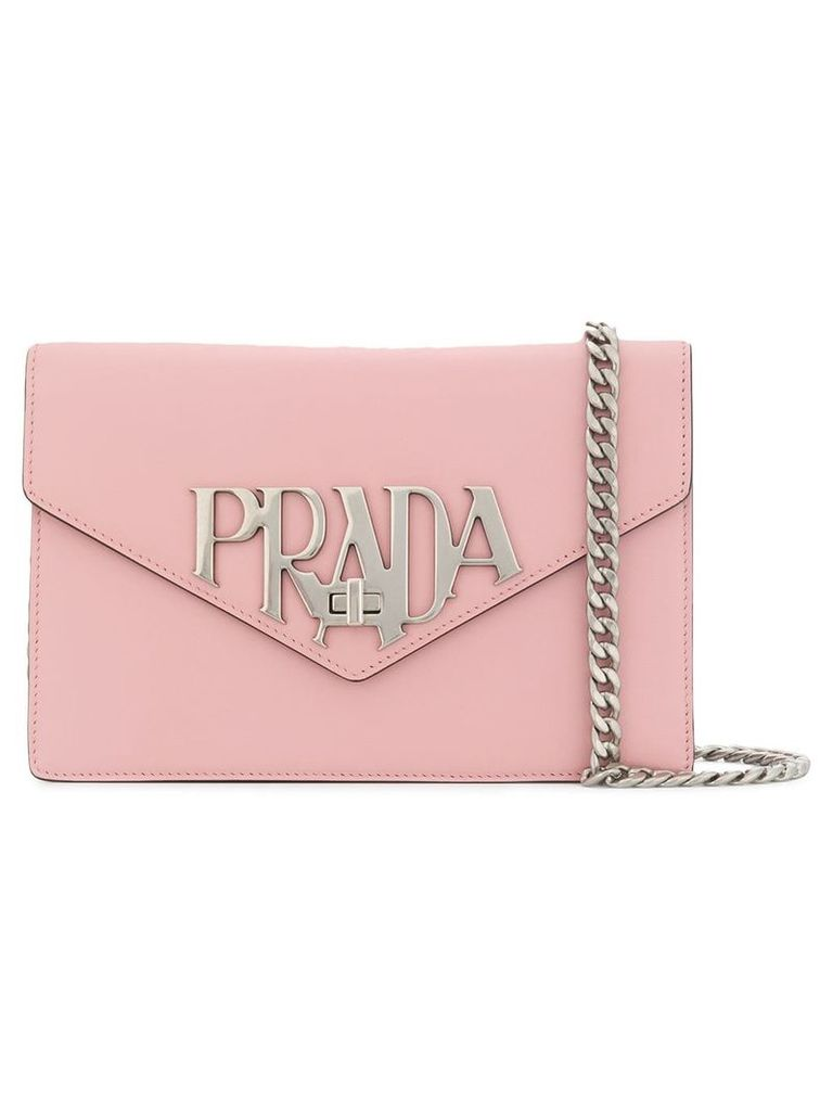 Prada logo plaque shoulder bag - Pink