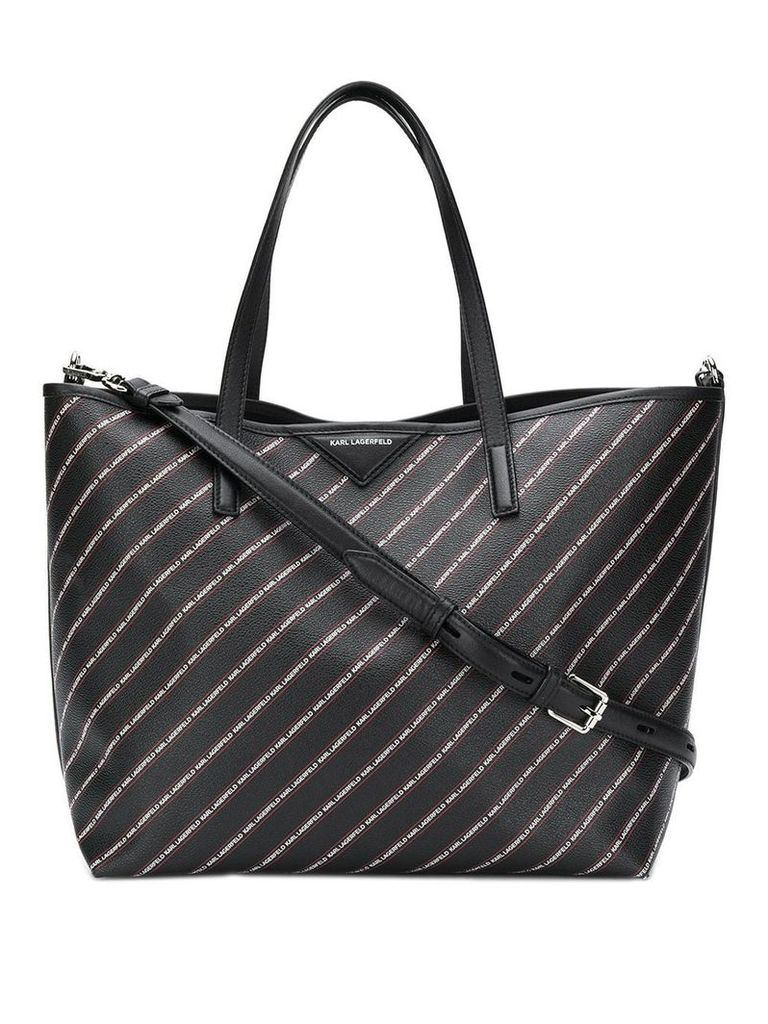 Karl Lagerfeld striped logo shopper bag - Black