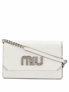 Miu Miu logo plaque shoulder bag - White