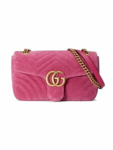 Gucci GG Marmont Chevron velvet shoulder bag - Pink