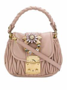 Miu Miu chevron pleated embellished shoulder bag - Pink