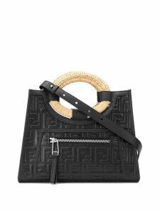 Fendi embossed logo shoulder bag - Black