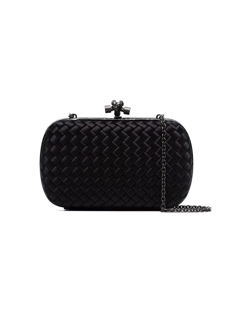 Bottega Veneta black Chain Knot silk satin shoulder bag