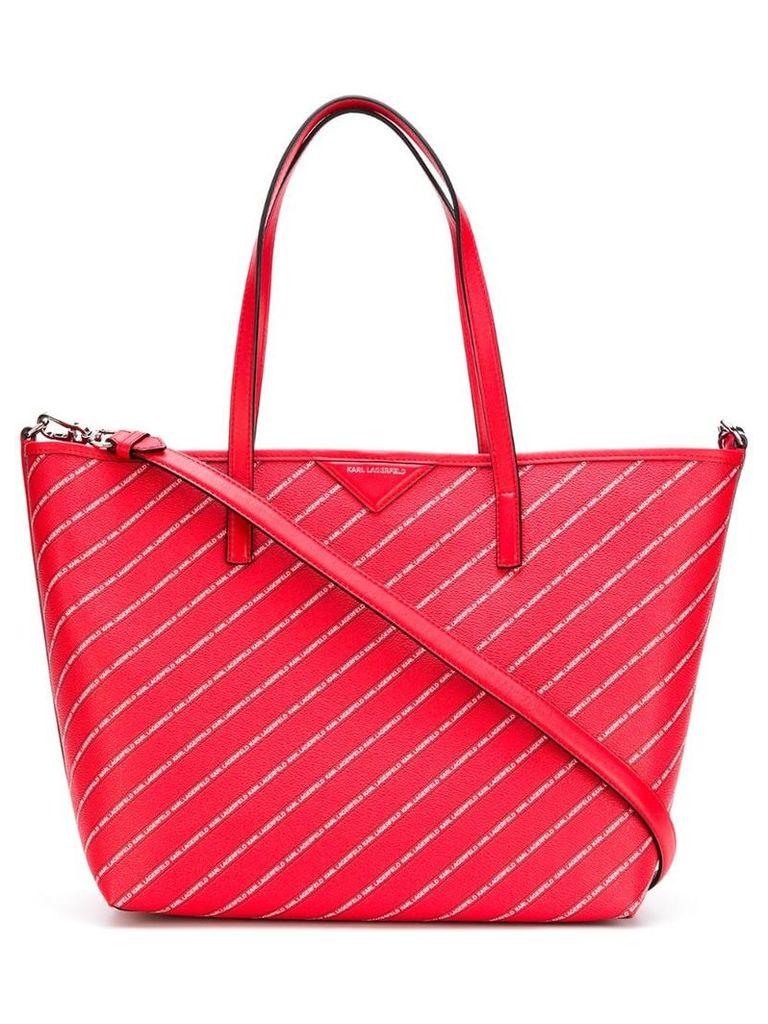 Karl Lagerfeld striped logo shopper bag - Red