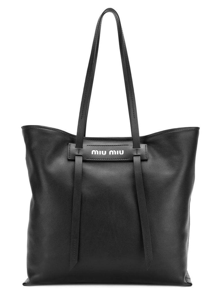 Miu Miu logo plaque tote bag - Black