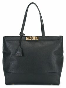 Moschino logo plaque tote - Black