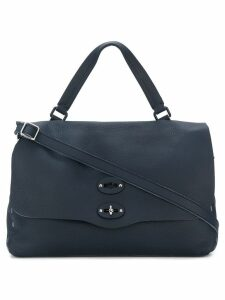 Zanellato medium foldover clasp tote bag - Blue