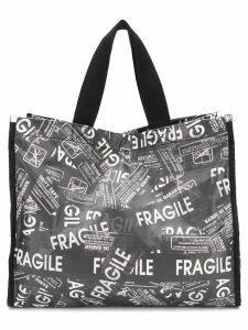 Mm6 Maison Margiela fragile print tote - Black