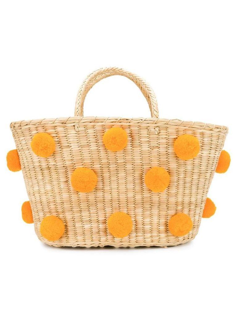 Nannacay woven pom pom bag - Neutrals