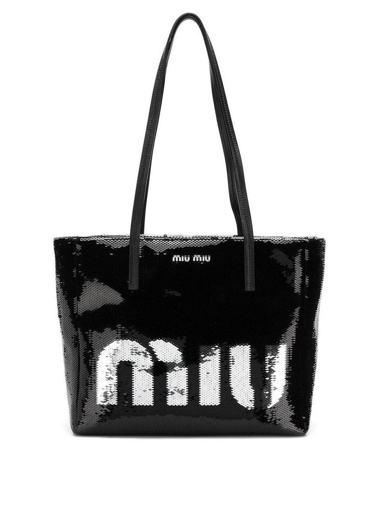 Miu Miu logo sequin tote bag - Black