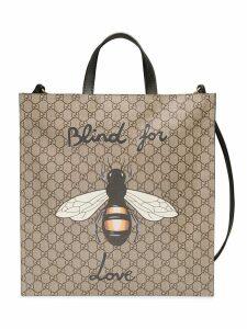 Gucci Bee print soft GG Supreme tote - Neutrals