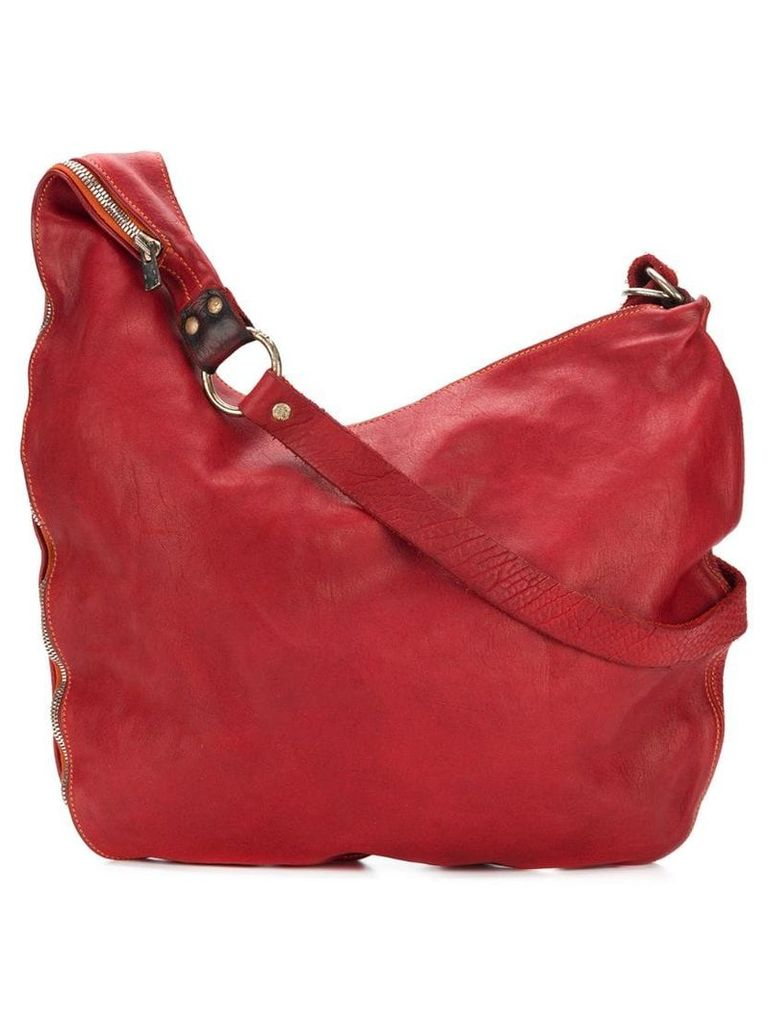 Guidi large zipped crossbody bag - Red