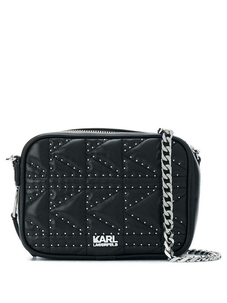 Karl Lagerfeld K/Klassik quilted stud camera bag - Black