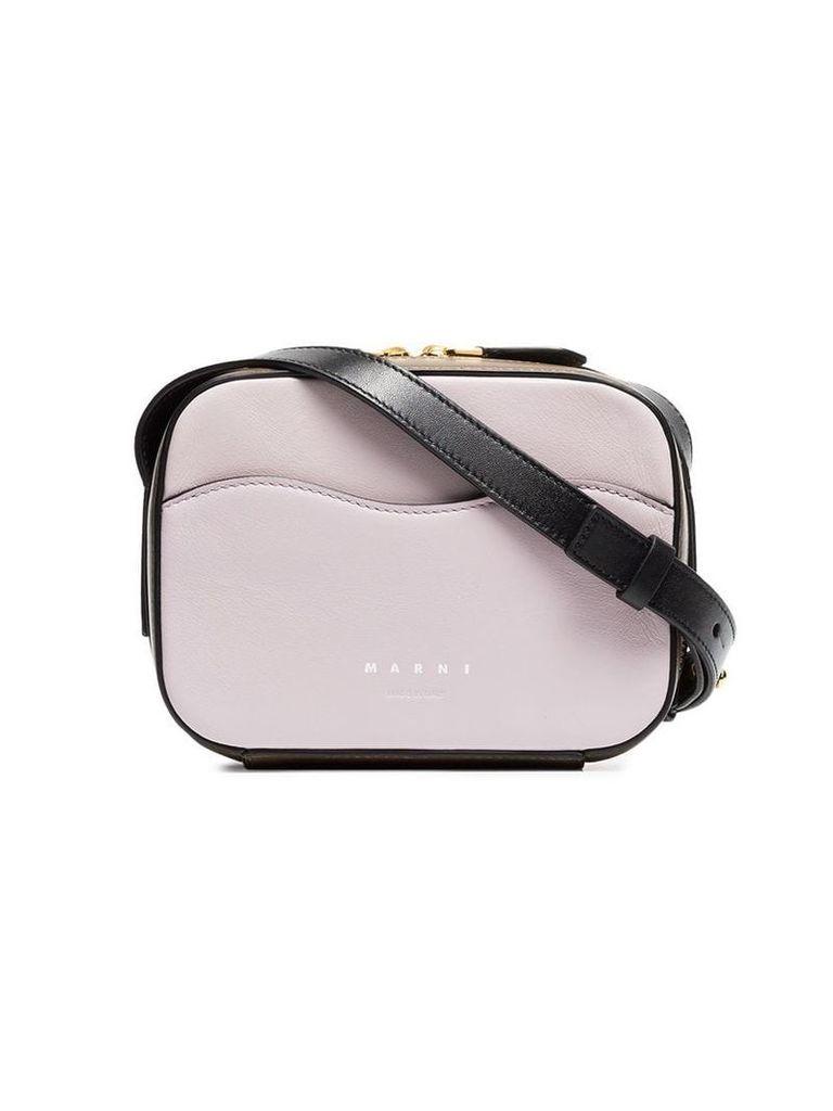 Marni Brown and pink crossbody box bag
