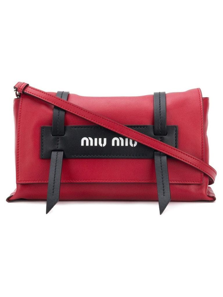 Miu Miu front logo crossbody bag - Red