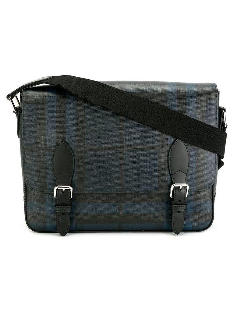 Burberry Medium Leather Trim London Check Messenger Bag - Blue