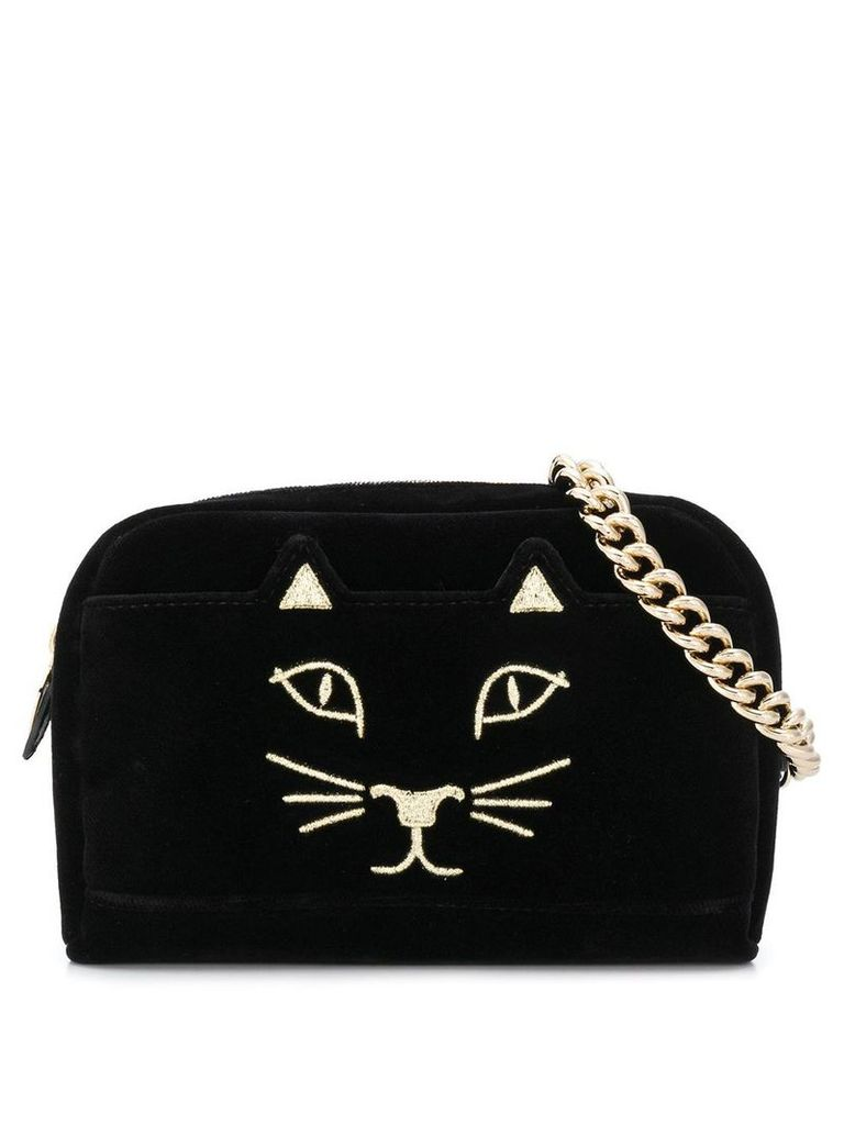 Charlotte Olympia embroidered kitty satchel - Black
