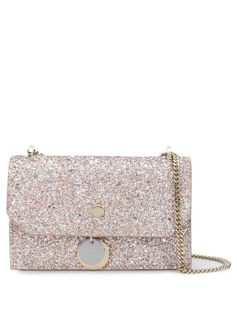 Jimmy Choo Finley glittered crossbody bag - Pink