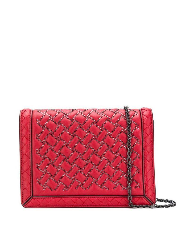 Bottega Veneta stud detail cross body bag - Red