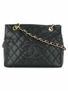 Chanel Pre-Owned quilted logo shoulder bag - Black