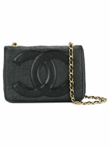 Chanel Pre-Owned logo patch shoulder bag - Black