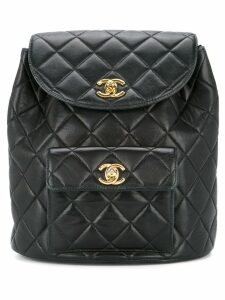 Chanel Pre-Owned quilted chained backpack - Black
