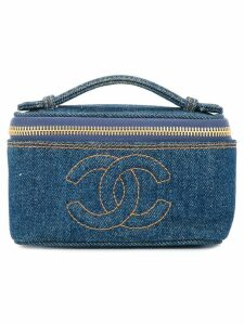 Chanel Pre-Owned denim CC logo cosmetic handbag - Blue