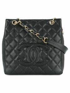 Chanel Pre-Owned quilted logo tote - Black