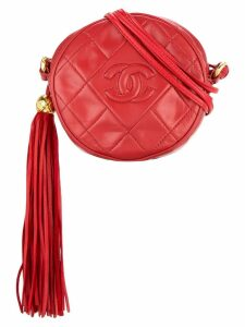 Chanel Pre-Owned quilted fringed logo bag - Red
