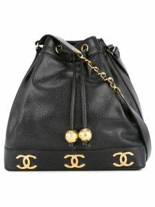 Chanel Pre-Owned logos drawstring shoulder bag - Black