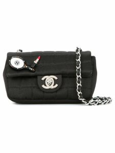 Chanel Pre-Owned quilted rhinestone cc chain bag - Black