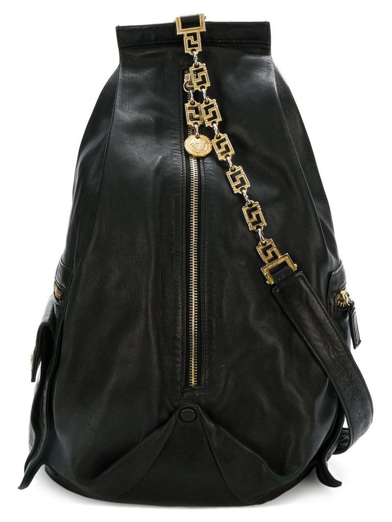 Versace Vintage chain strap backpack - Black