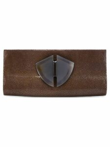 Giorgio Armani Pre-Owned emebellished envelope clutch - Brown