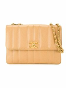 Chanel Pre-Owned stripe quilt shoulder bag - Neutrals