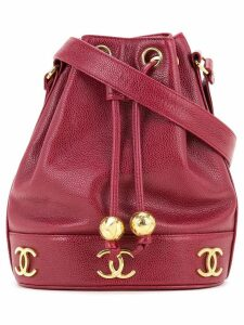 Chanel Pre-Owned logo bucket bag - Red