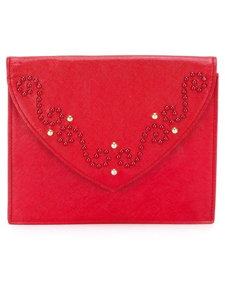 Yves Saint Laurent Vintage studded clutch - Red