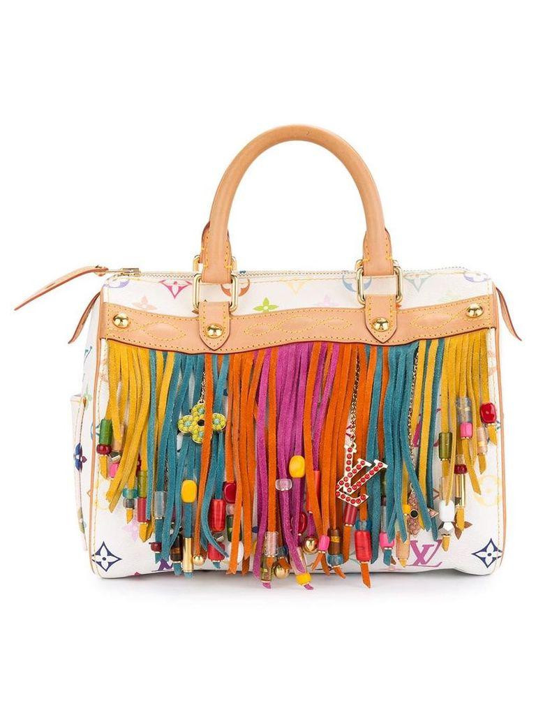 Louis Vuitton Vintage Speedy fringed tote bag - White