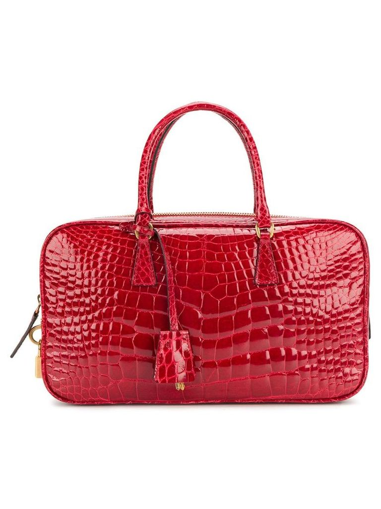 Prada Vintage varnished rectangular tote - Red