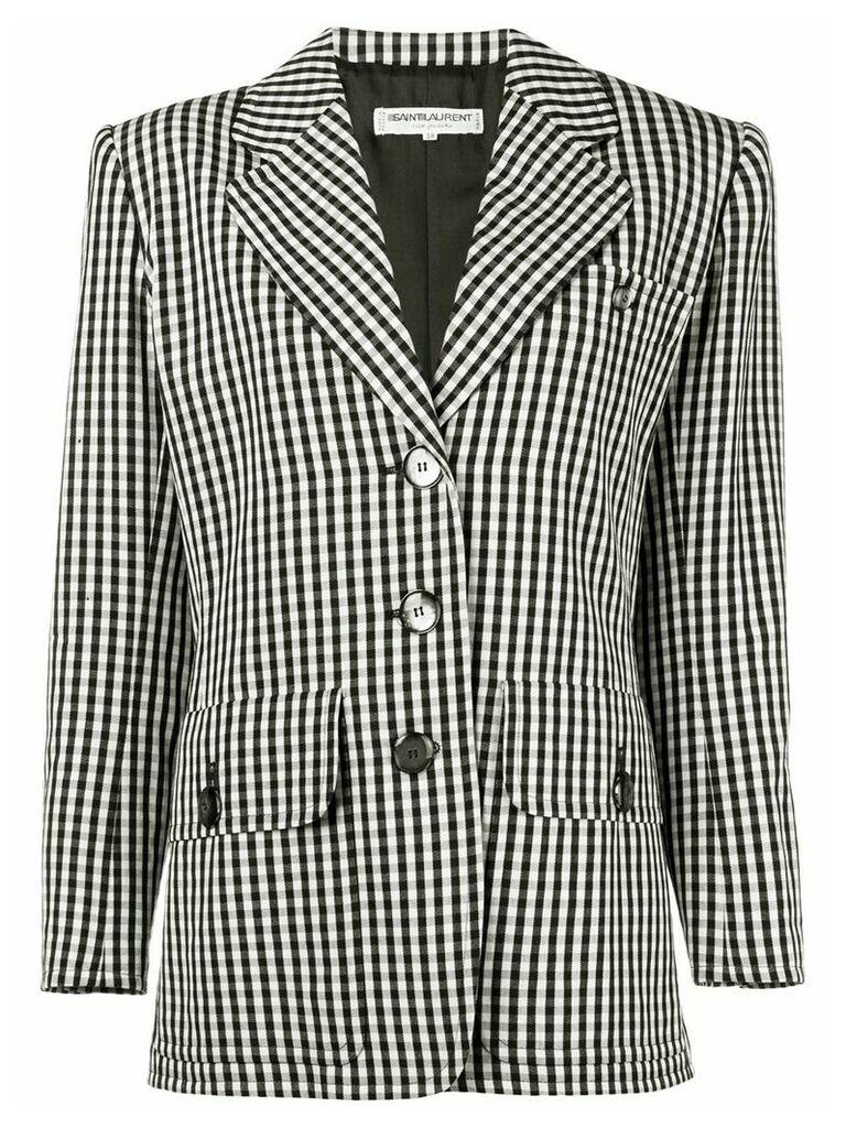 Yves Saint Laurent Pre-Owned 1980's gingham blazer - Black