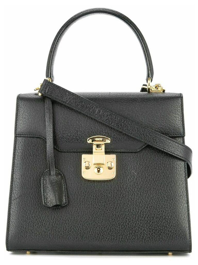 Gucci Vintage Lady Lock Logos 2way Hand Bag - Black
