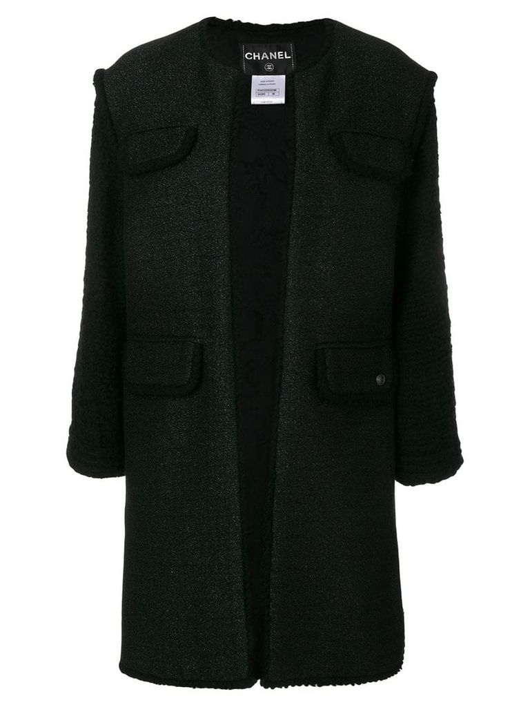 Chanel Vintage frayed open coat - Black