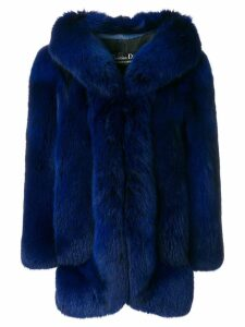 Christian Dior Pre-Owned oversized fur coat - Blue