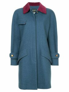 Chanel Pre-Owned boxy midi coat - Blue