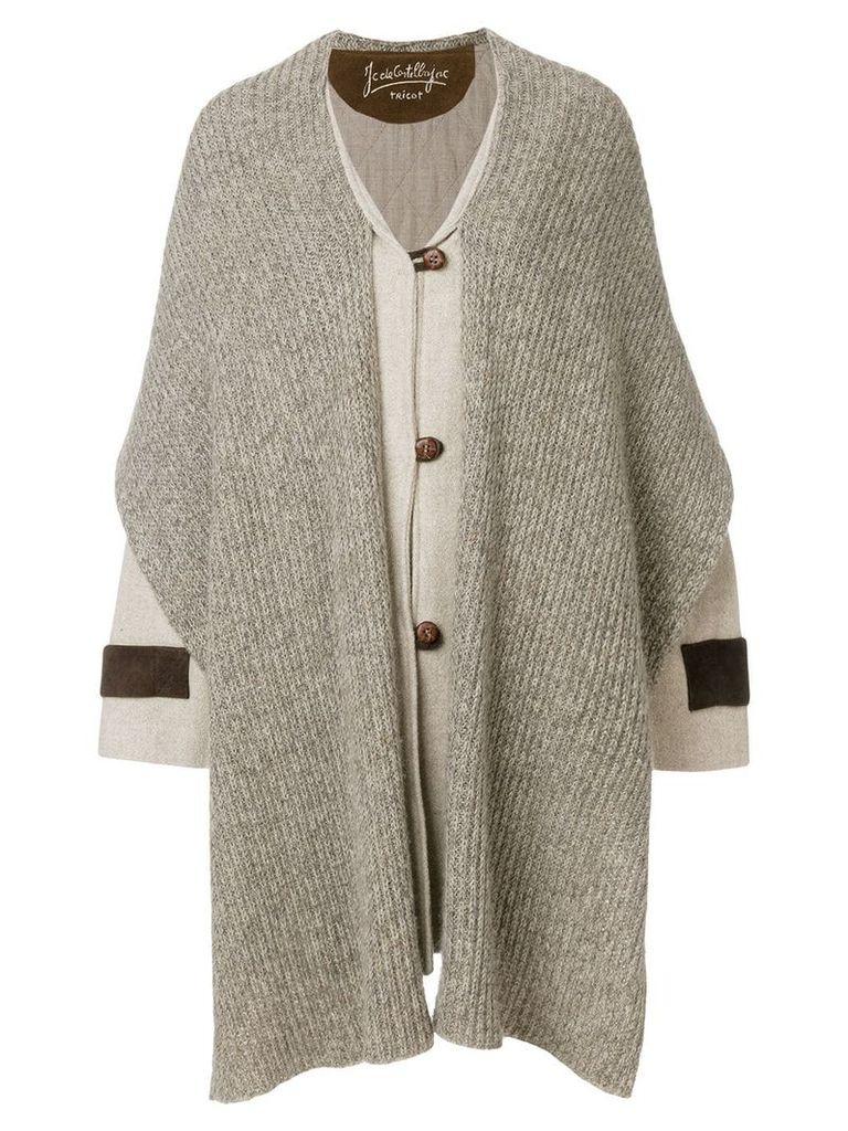 Jc De Castelbajac Vintage Mickey Mouse scarf coat - Neutrals